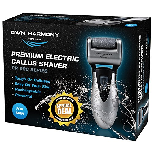 (Callus Remover: Electric Rechargeable Pedicure Tools for Men by Own Harmony -3 Rollers (Tested Powerful) Best Foot File, Professional Spa Electronic Micro Pedi Feet Care Perfect for Hard Cracked Skin)