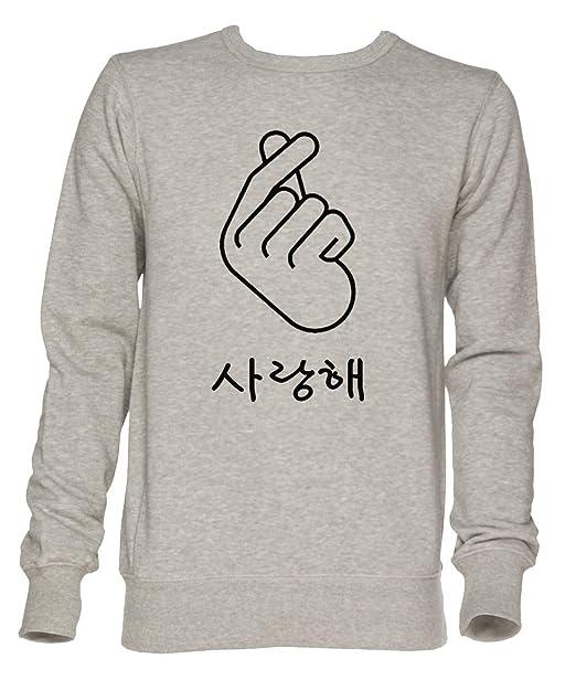 Coreano Dedo Corazón yo Amor Tú Hangul Unisexo Gris Jersey Sudadera Hombre Mujer Tamaño XXL | Unisex Jumper Sweatshirt For Men and Women Size XXL: ...