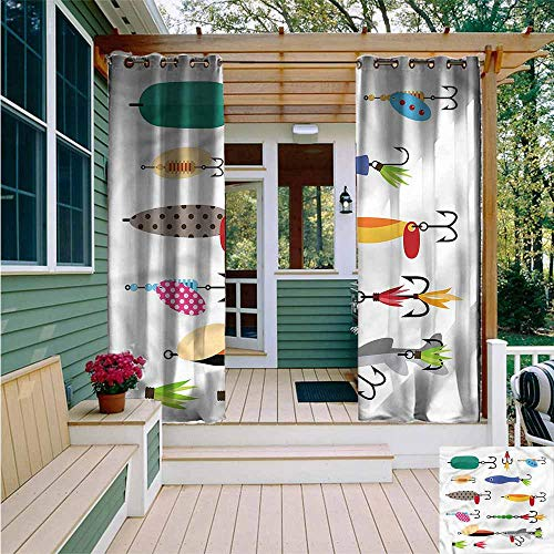 Beihai1Sun Outdoor Grommet Window Curtain,Fishing Stinger Net and Worms,Room Darkening Thermal,W108x108L