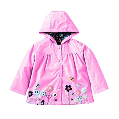 Deylaying Girls Kids Flower Pattern Waterproof Rain Jacket