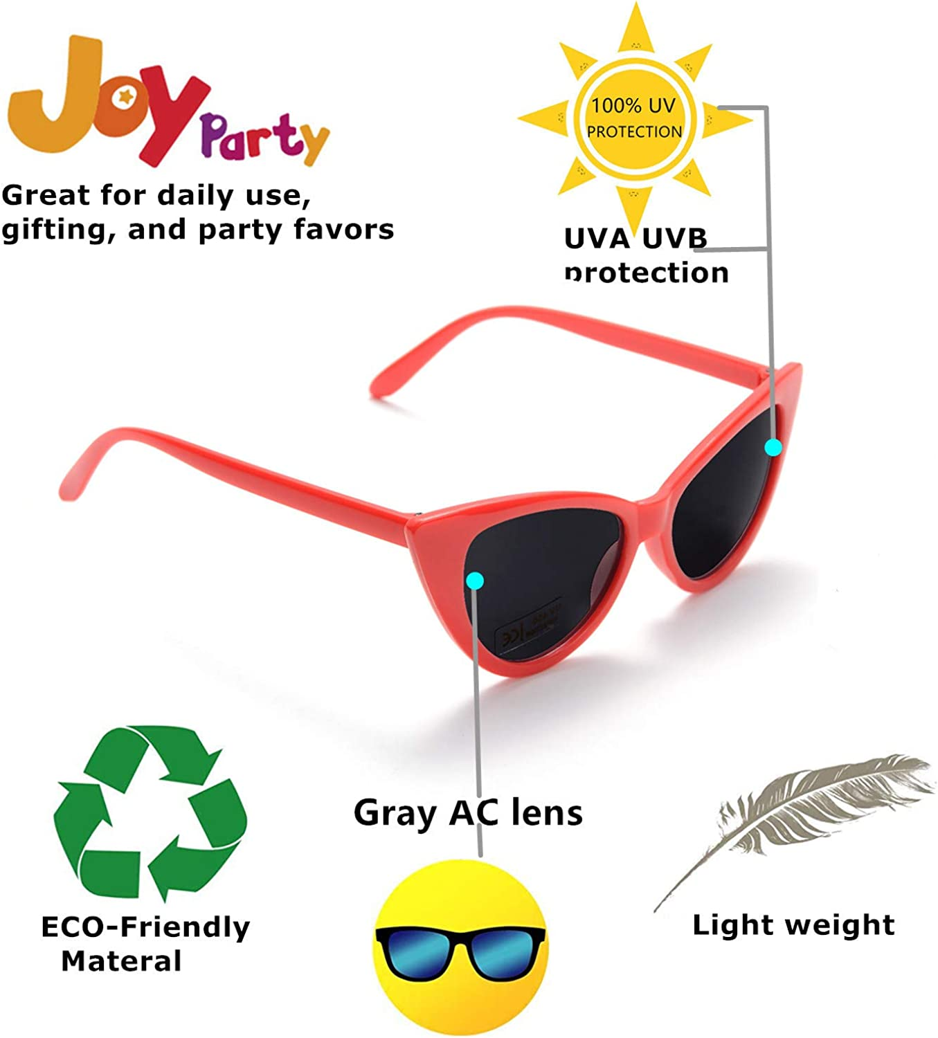 Retro Cateye Party Sunglasses for Women Fashion Clout Goggles Vintage Cat Eye Sun Glasses 10 Pack