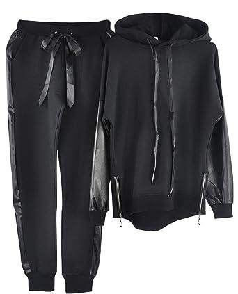 56725f32 TAOVK Women's Casual Lace-up Hoodies Sportswear Leather Patchwork Sets  Split Side Zippers Tops Street