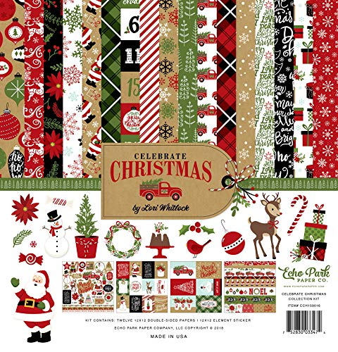 Echo Park Paper Company CCH159016 Celebrate Christmas Collection Kit Paper, Red/Green/Tan/Burlap/Black from Echo Park Paper Company