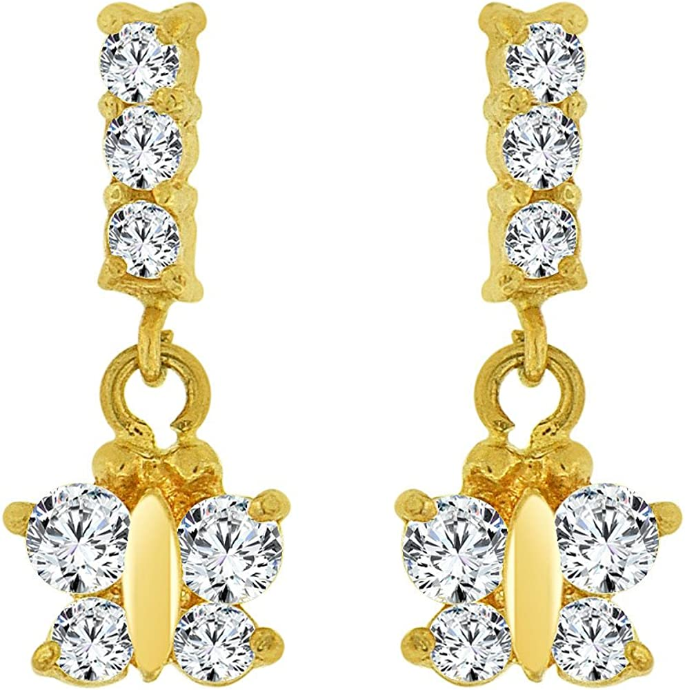 Mini Baby Size Butterfly Earring Created CZ Screw Back 14k Yellow Gold