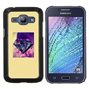 YiPhone /// Prima de resorte delgada de la cubierta del caso de Shell Armor - diamante amarillo cartel púrpura joya - Samsung Galaxy J1 J100