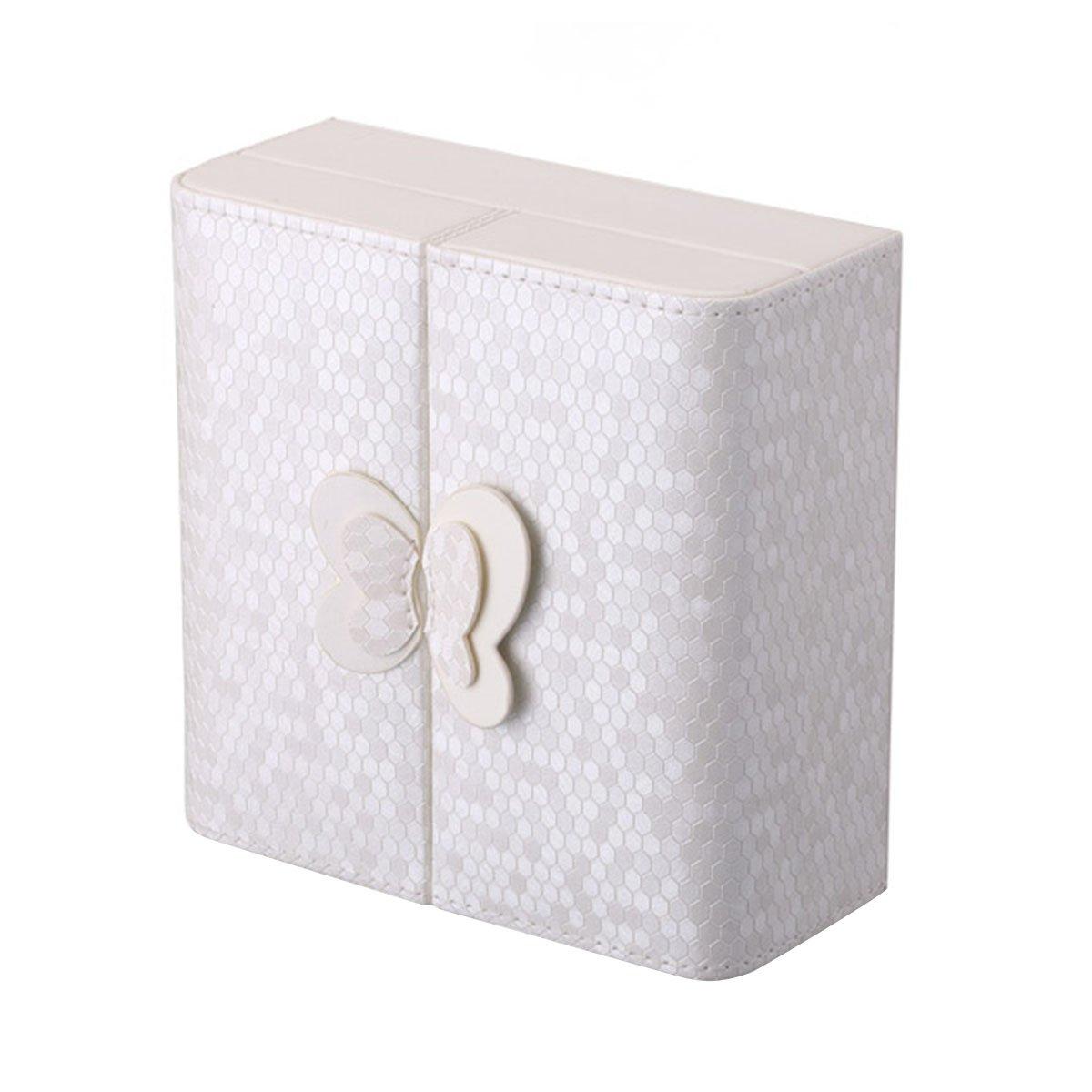 Scatola portagioielli, piccolo contenitore portatile da viaggio in pelle con decorazione a farfalla, organizer portaoggetti per anelli, orecchini, collane collane (bianco) Wuudi