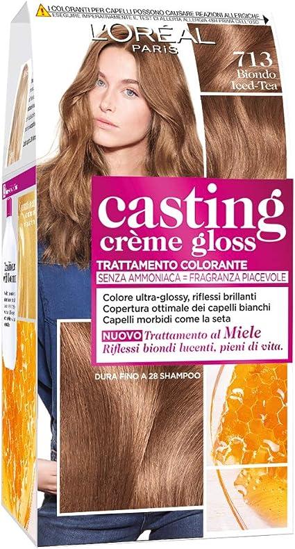 LOréal Paris Casting Creme Gloss, tratamiento colorante para el cabello, sin amoniaco para una fragancia agradable. Biondo Iced Tea 713
