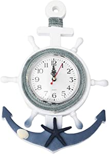 CLISPEED Nautical Anchor Wall Clock Wall Hanging Ornament Wooden Boat Ship Steering Wheel Wall Decor Sailing Ship Home Display Beach House Decor Star Style