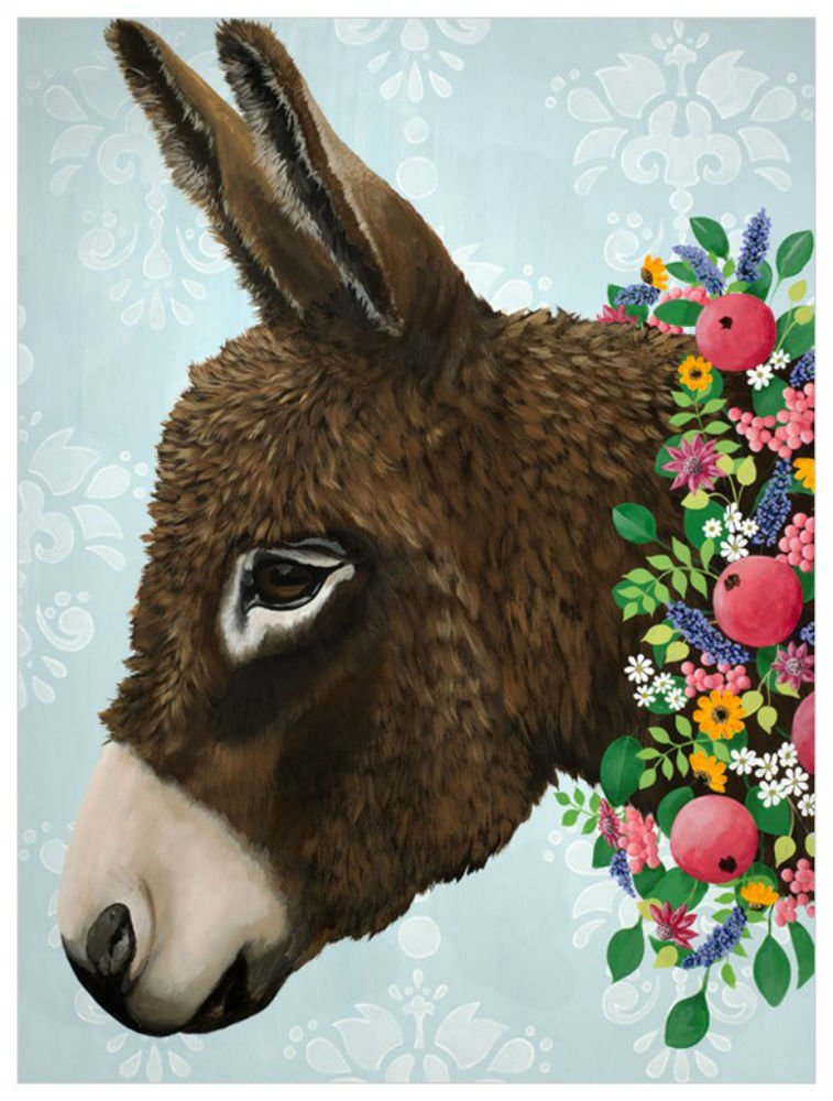 GB001 14 x 18 Donkey Next Door Wall Art 14 x 18