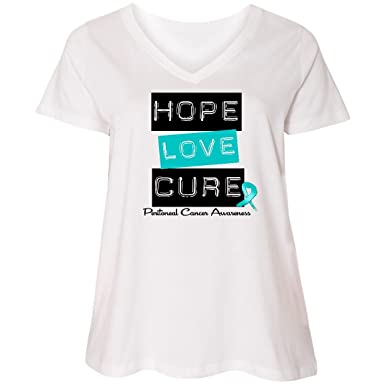 aae953e56 Amazon.com: inktastic Peritoneal Cancer Hope Love Cure Ladies Curvy V-Neck  Tee - HDD: Clothing