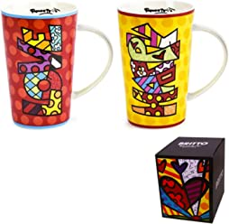Romero Britto Bone China Mug 13 oz Coffee Tea Home Decor Novelty Design Gift Box