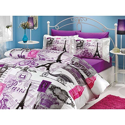 BEST SELLER Vintage Paris Duvet Cover including Comforter Set - Queen Size (8pcs) - 100% Turkish Cotton / Made in Turkey - Paris Eiffel Tower themmed item, Queen size Lilac+fitted+comforter
