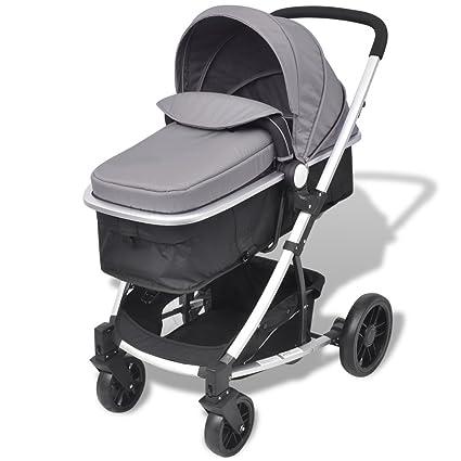 Festnight- Cochecito de Bebé de Aluminio Sillas de Paseo 97 x 49 x 101 cm Gris y Negro