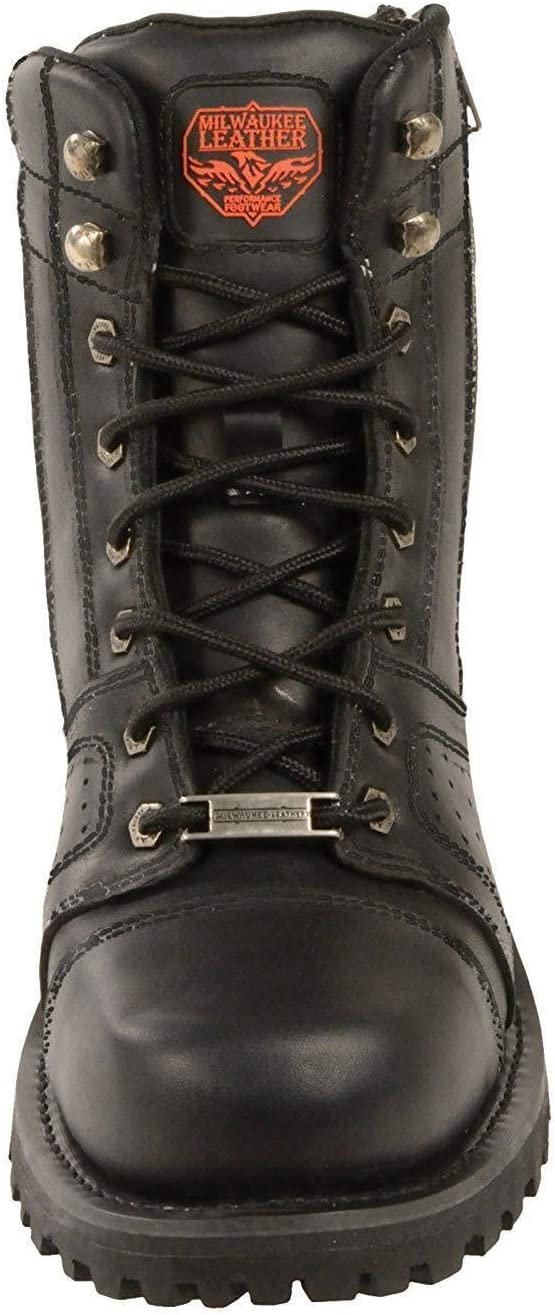 Milwaukee Leather MBM9000 Mens Lace-Up Black Leather Boots with Side Zipper Entry 10.5