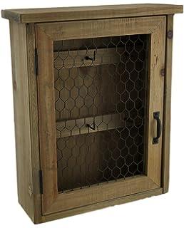Zeckos Wood Decorative Wall Hooks Rustic Wooden Hanging Key Cabinet With  Metal Mesh Door 9.75 X