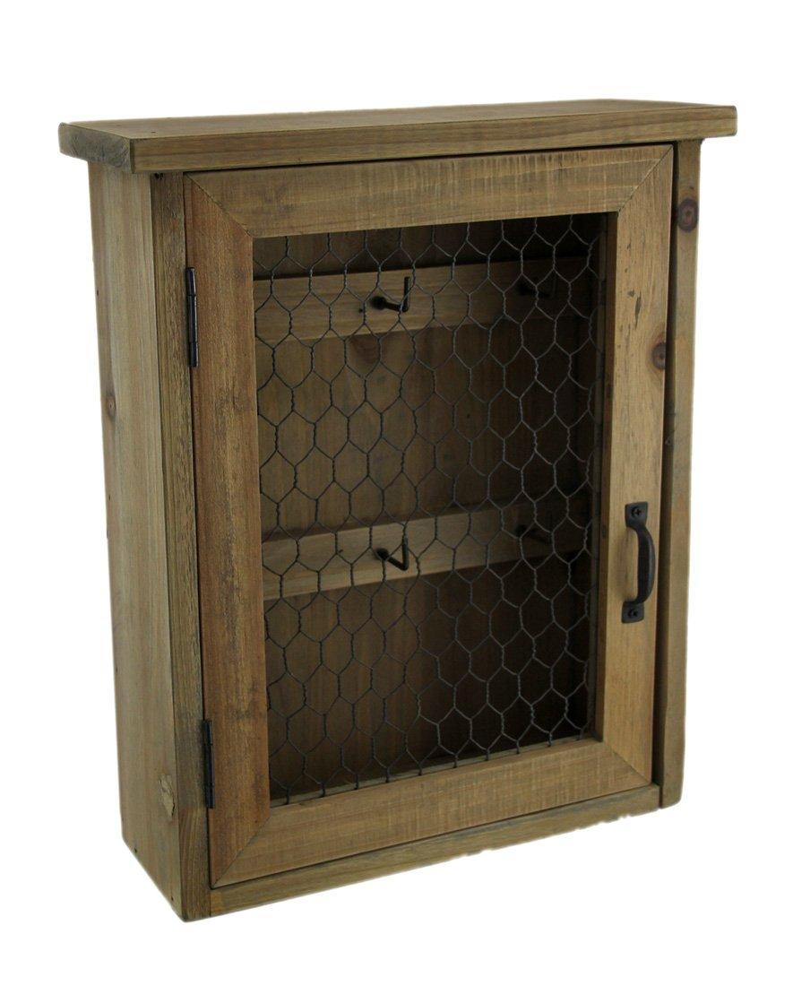 Zeckos Wood Decorative Wall Hooks Rustic Wooden Hanging Key Cabinet With Metal Mesh Door 9.75 X 11.75 X 3.5 Inches Beige