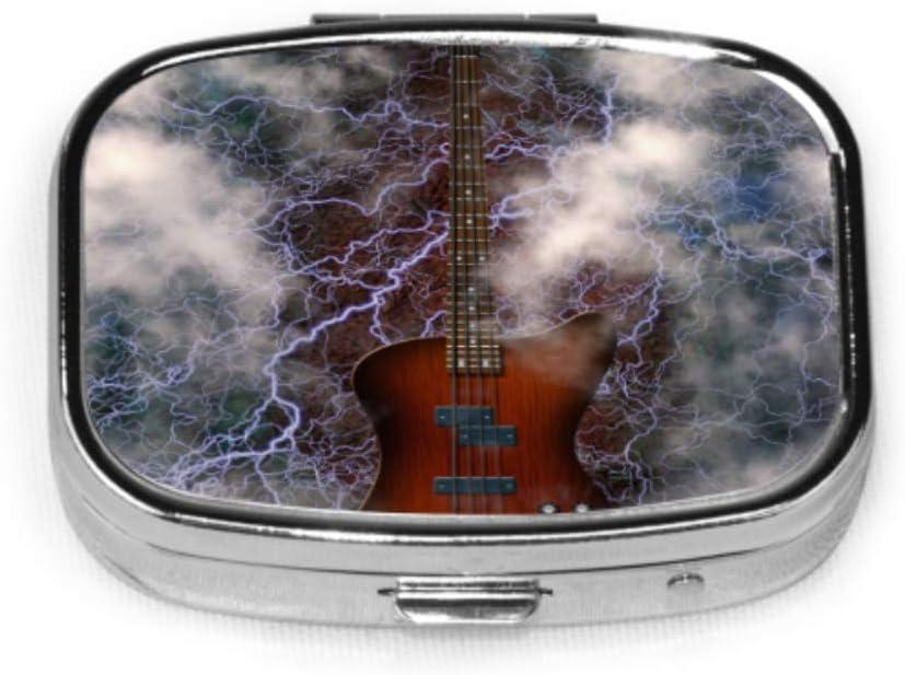 Jazz Rock Cool Guitarra eléctrica para niño Pastillero de lunes a viernes Pastillero pequeño diario Soporte para tableta Cartera Organizador Estuche para bolsillo o monedero
