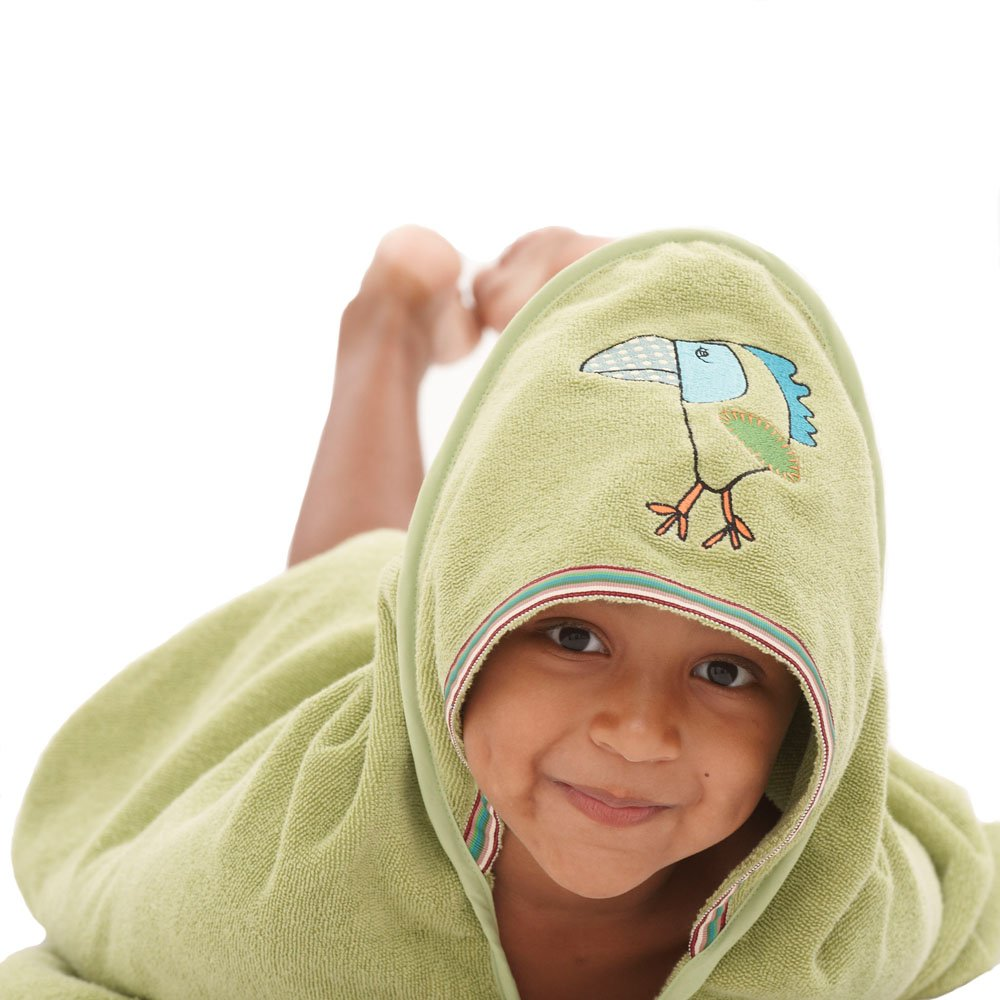 Breganwood Organics Baby & Toddler Hooded Towel (Ages 0-3), Funny Bird Rainforest Collection