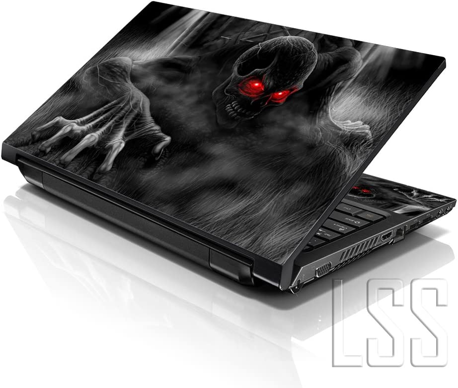 "LSS 15 15.6 inch Laptop Notebook Skin Sticker Cover Art Decal Fits 13.3"" 14"" 15.6"" 16"" HP Dell Lenovo Apple Asus Acer Compaq (Free 2 Wrist Pad Included) Dark Ghost Zombie Skull"