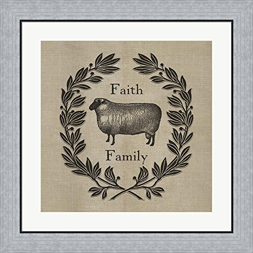 Faith Family Sheep by Marcee Duggar Framed Art Print Wall Picture, Flat Silver Frame, 23 x 23 inches by Great Art Now