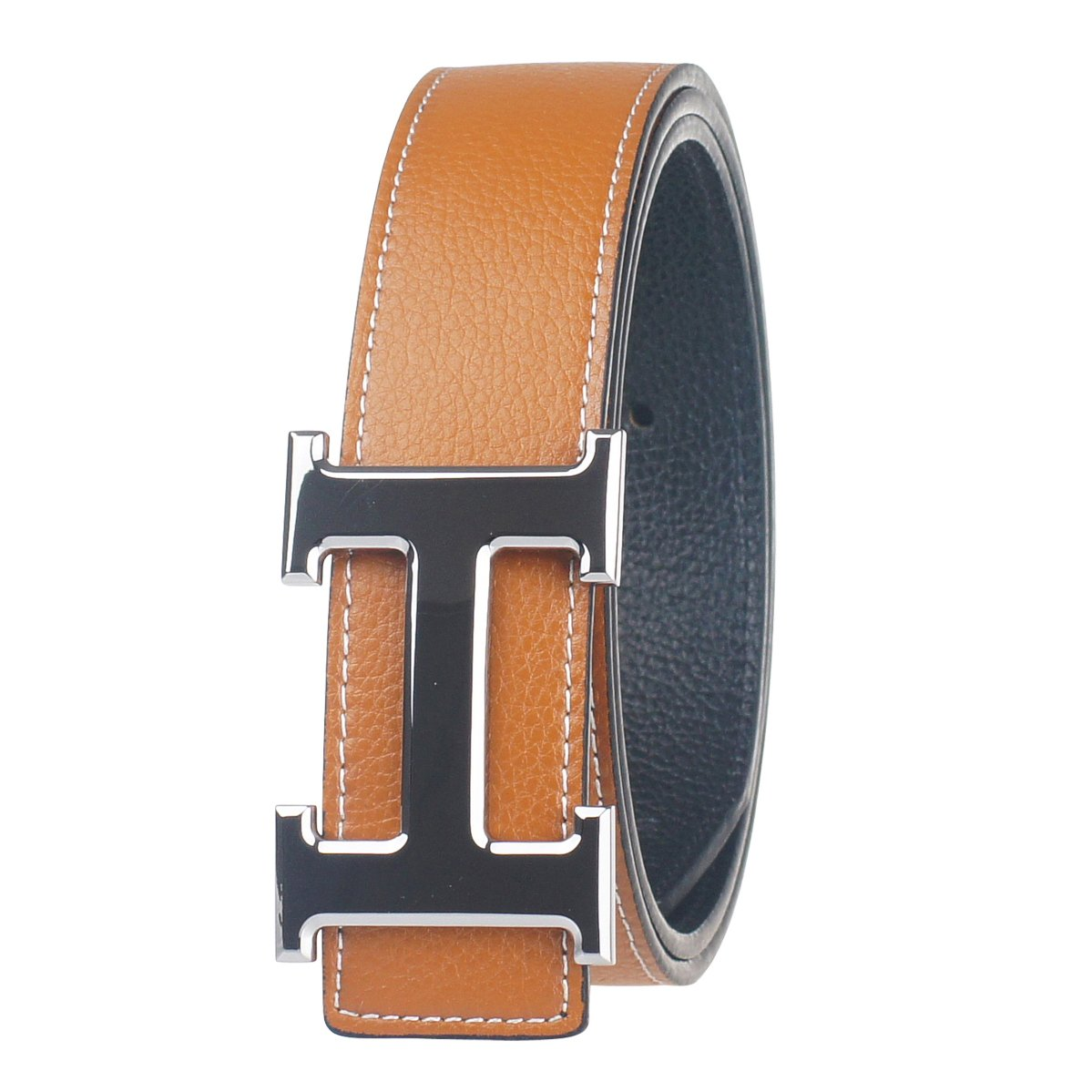 New Designer H Buckle Belt, High Quality Luxury Men's Leather Waist Belts (125cm, Coffee+Gold)