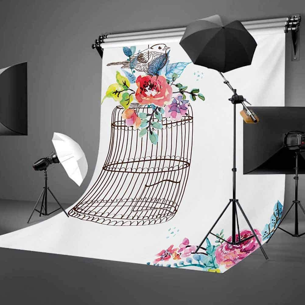 Watercolor 10x15 FT Backdrop Photographers,Sketch of a Bird on an Empty Cage with Colorful Flowers Nature Imagery Background for Party Home Decor Outdoorsy Theme Vinyl Shoot Props Brown Multicolor
