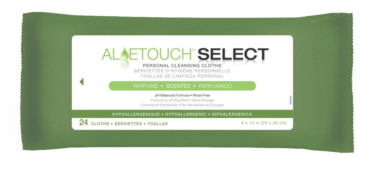Medline Aloetouch Select Premium Spunlace Personal Cleansing Wipes, 24 Count (Pack of 24)