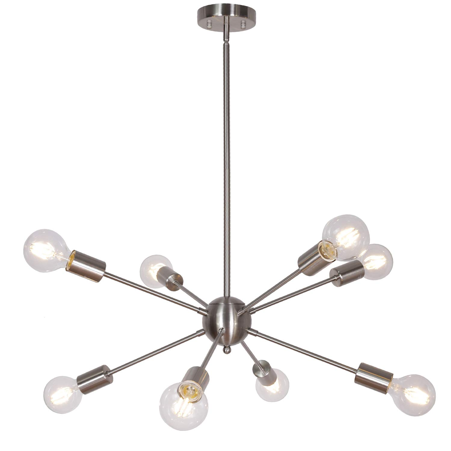 watch adf9a 86bd0 8-Light Modern Sputnik Pendant Light Brushed Nickel Mid Century Chandelier  Semi Flush Mount Ceiling Light for Foyer Bedroom Dining Room UL Listed by  ...