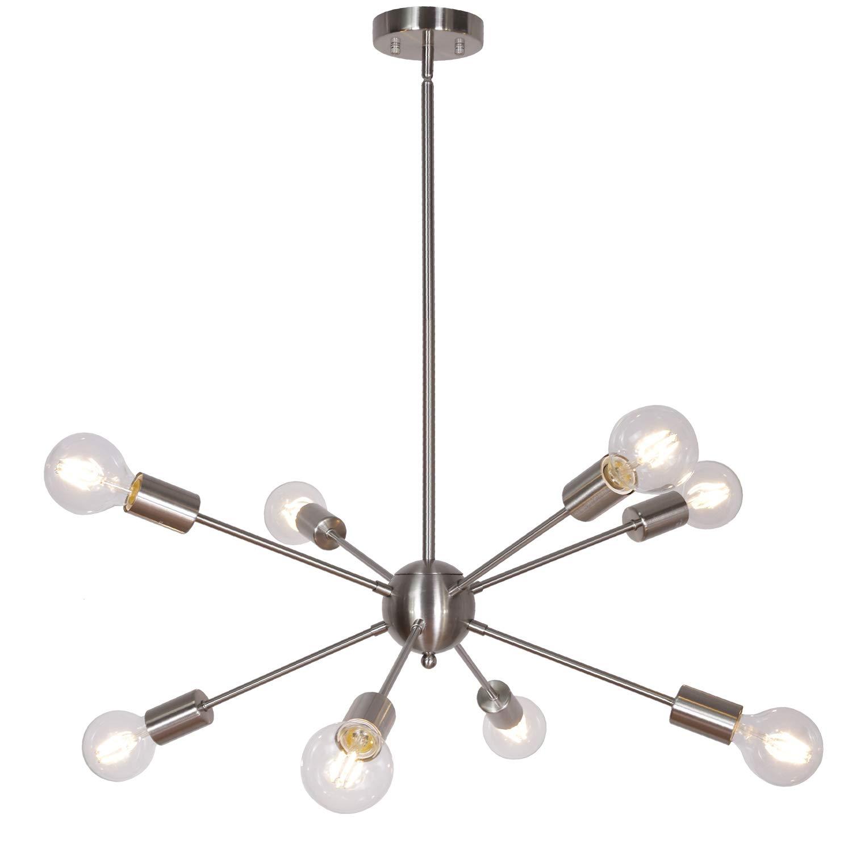 MELUCEE 10 Lights Modern Chandeliers Brass Sputnik Light Mid Century Chandelier Industrial Pendant Lighting Semi Flush Mount for Living Room Dining Room Bedroom