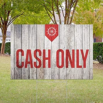Nautical Wood Double-Sided Weather-Resistant Yard Sign 27x18 Cash Only CGSignLab 5-Pack