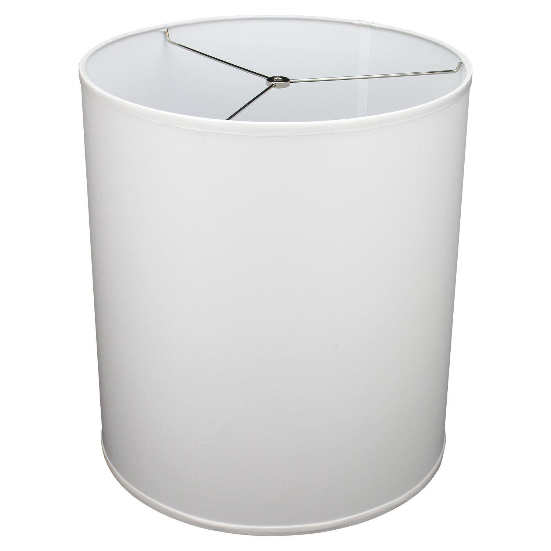FenchelShades.com 16'' Top Diameter x 16'' Bottom Diameter 18'' Height Cylinder Drum Lampshade USA Made (White)
