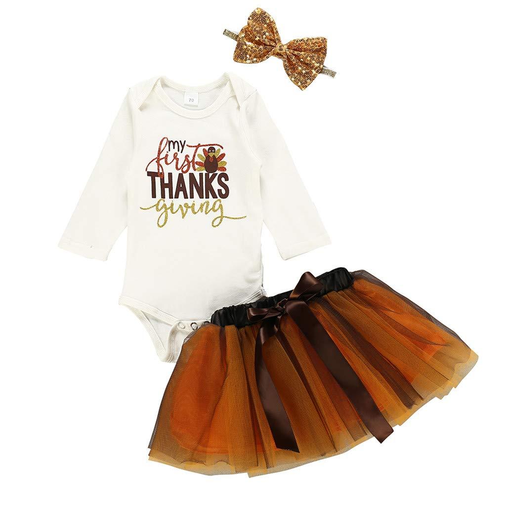 LEXUPE Neugeborenes Baby M/ädchen Dank Tag T/ürkei Romper Tutu Rock Hairband Set geben