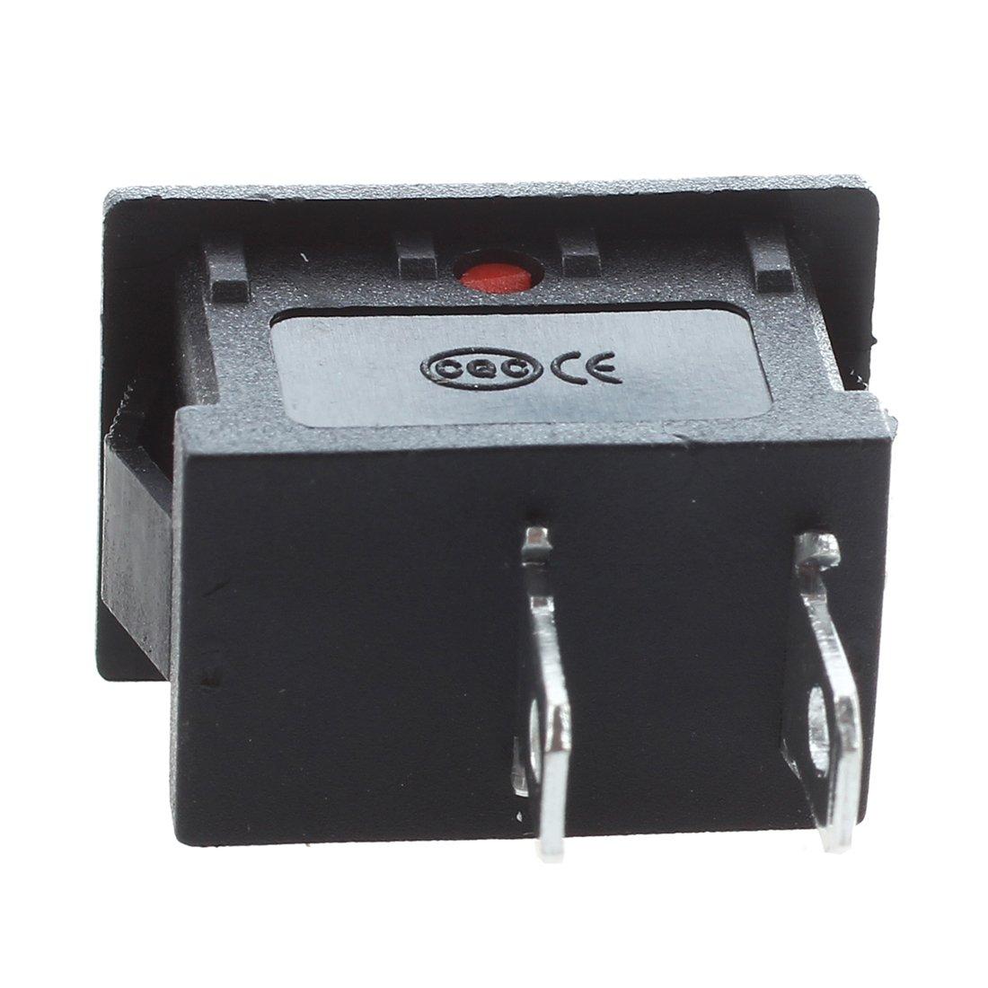 125V 6A R SODIAL 250V AC 20 pcs x Boton Rojo 2 Pin SPST ON-OFF Mini Barco Balancin Interruptor 10A