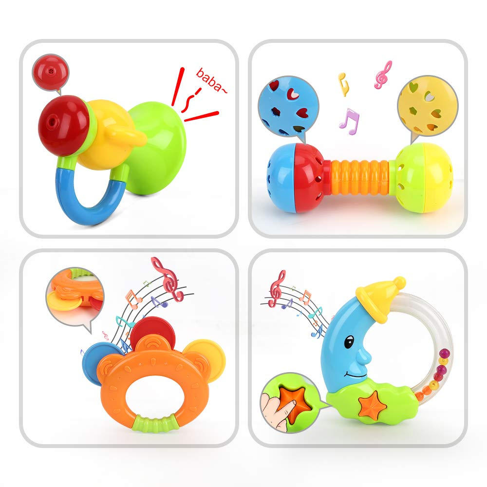 LAMEIDA 4 Pack Toddler Toys Wooden Baby Rattle Rainbow Baby Teething Toys Rattle Rings for Baby
