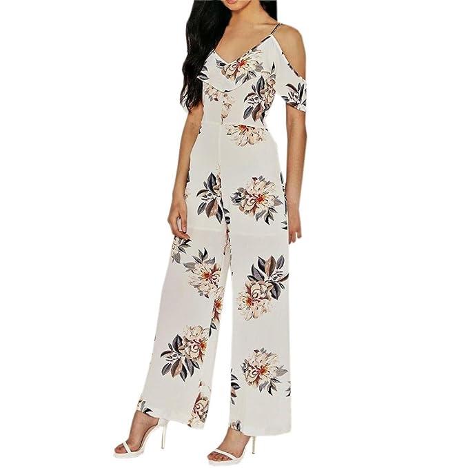 618dfe2a54212 Fathoit Chic Combinaison Pantalon Femme Ete, Women s Fashion V Neck Strappy  Off Tea Shoulder Printed