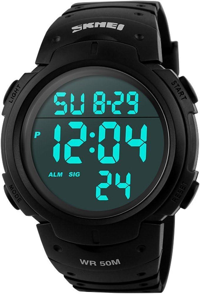 SunJas Reloj Electrónico Impermeable de 50m de Multifunciones Pulsera de Moda con Luces para Deportes Exteriores para Hombres