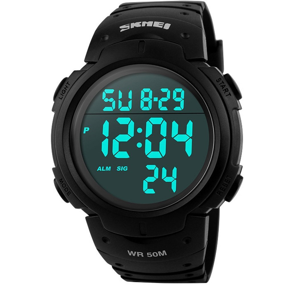 Reloj de pulsera deportivo SunJas, resistente al agua 50m, alarma, calendario, para hombre, mujer, multifunción universal de reloj analógico