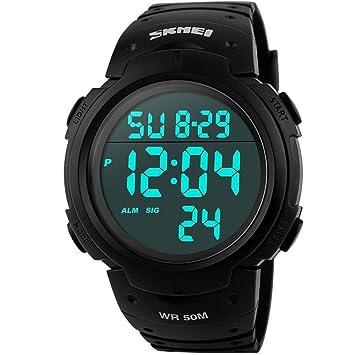 8aef812fb2c6 SunJas Reloj Electrónico Impermeable de 50m de Multifunciones Pulsera de  Moda con Luces para Deportes Exteriores para Hombres (Negro)  Amazon.es   Deportes y ...