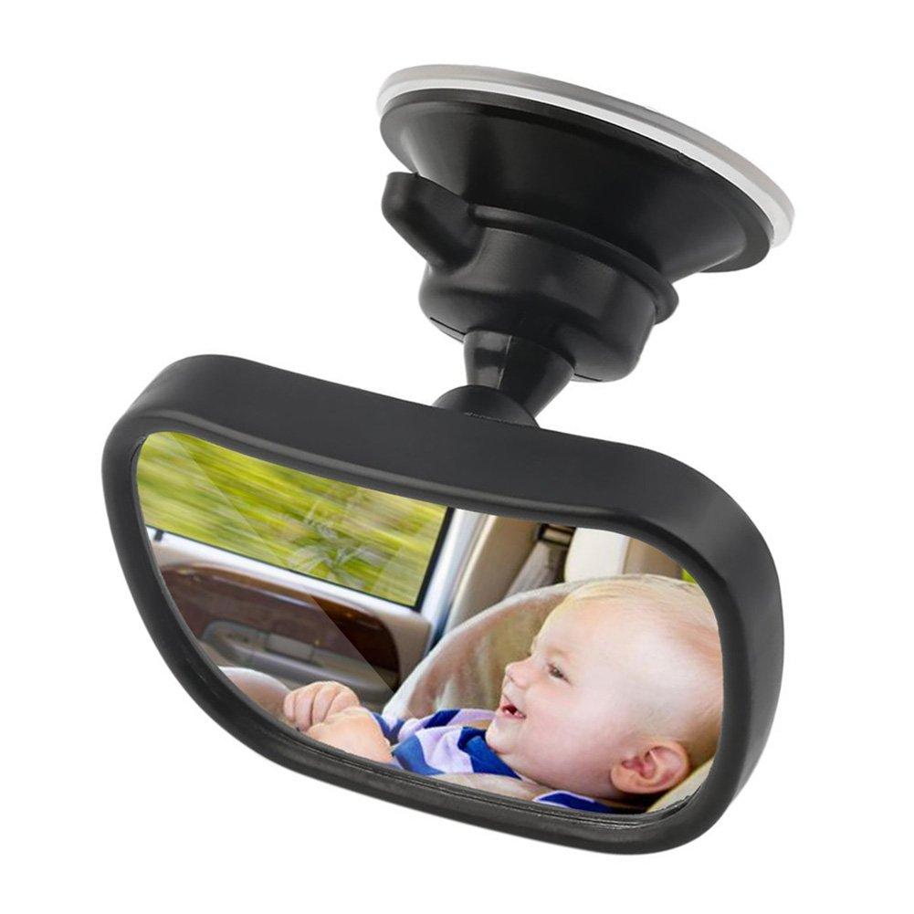 Livecity Miroir de voiture, universel réglable de voiture Banquette arrière Rétroviseur avec clip de sécurité pour enfant Ventouse, Plastique, Noir, Universel