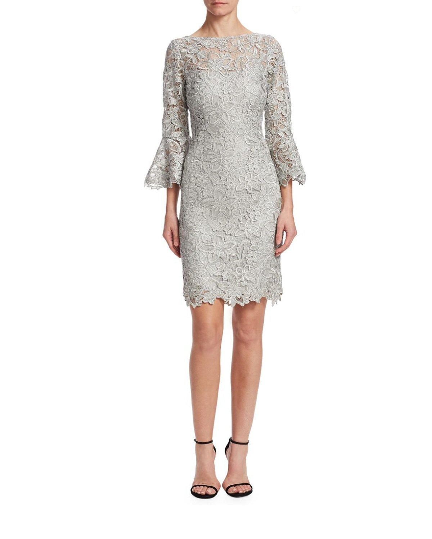 6198cf29700 Teri Jon Bell Sleeve Lace Cocktail Evening Dress