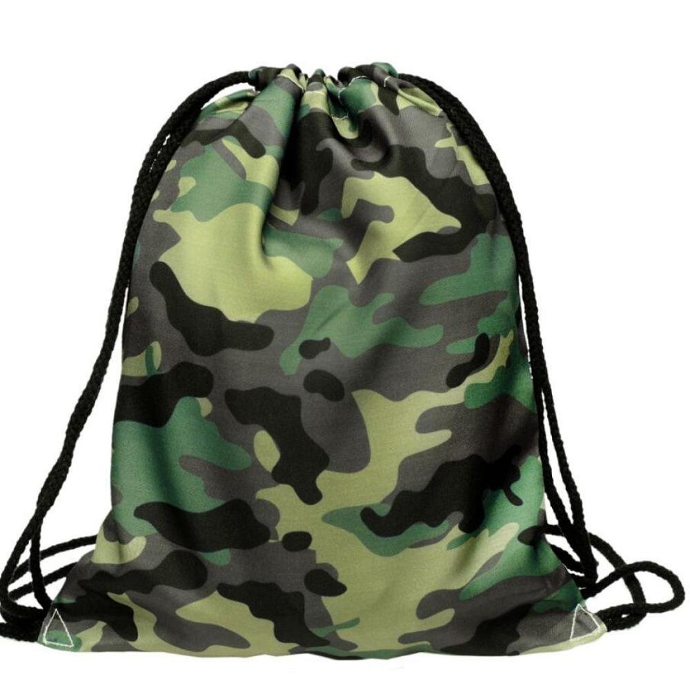 Backpack,Doinshop Women Unisex Camouflage Drawstring Bags Sport Shoulder Bag