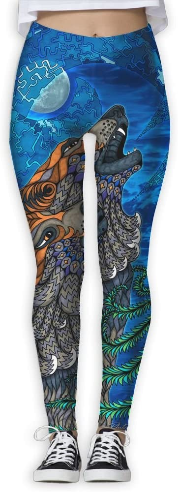 ZGZGZ Womens Psychedelic Wolf Howling Printed Yoga Pants Workout Capris Lightweight Yoga Leggings