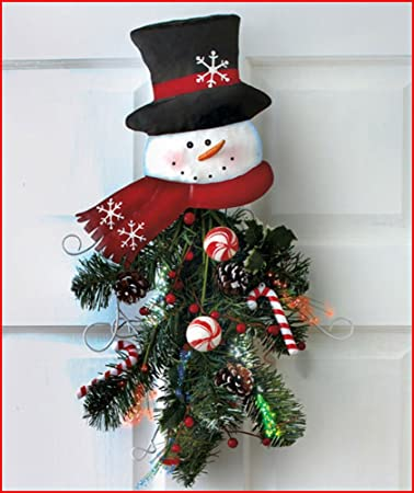 snowman fiber optic wall decor