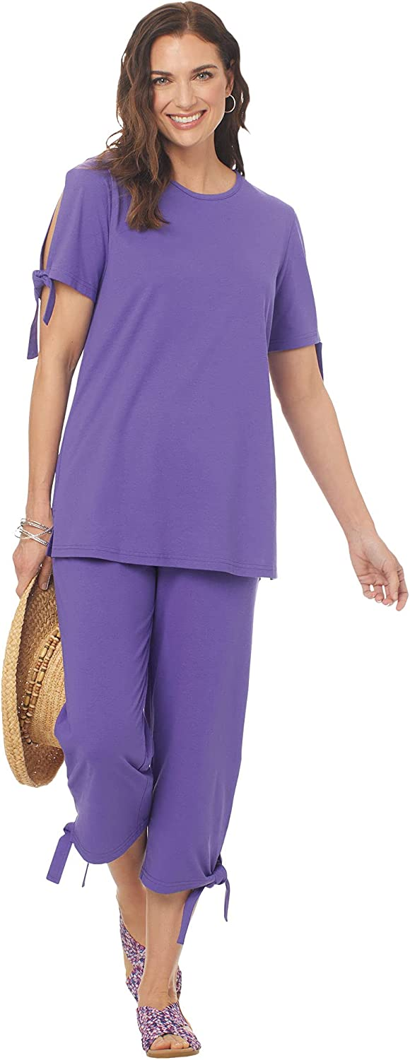 Women's Capri Pantset with Slit Piece Two Online limited product Casual Ties Max 71% OFF Outfit