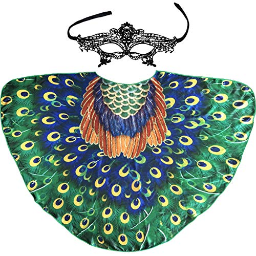 Peacock Feather Wing for Women, Adult Fairy Bird Costume for Pretend Party Favors]()