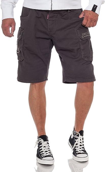 UNCS Highway - Pantalones cortos tipo cargo para hombre, color gris oscuro