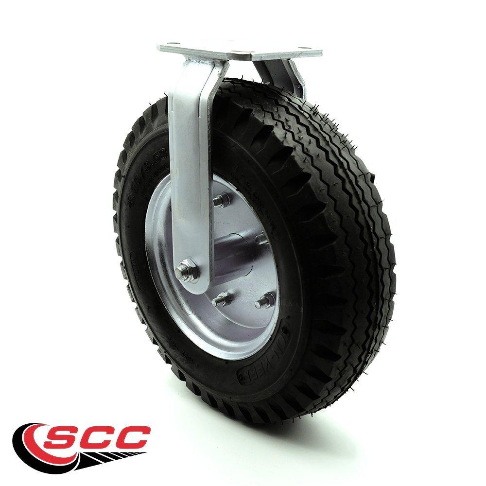 12'' Pneumatic Rigid Caster - Black Rubber Wheel - 450 lbs. Capacity - Service Caster Brand