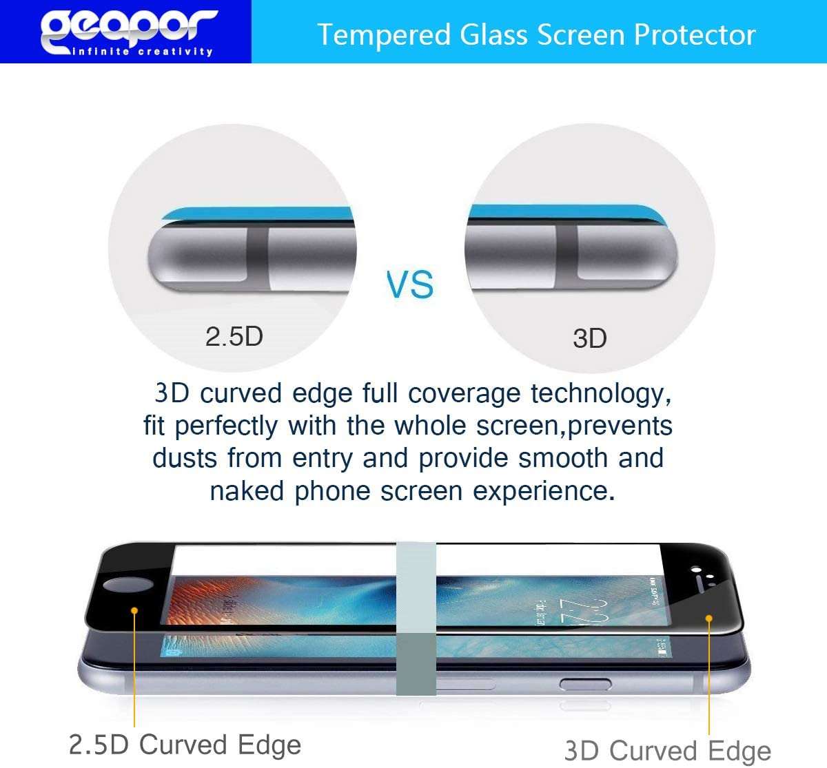 Geapor for ZTE Axon 10 Pro A2020 Pro 6.47 5G Tempered Glass Screen Protector, 4-Pack Anti-Scratch Black 3D Full Cover Bubble-Free
