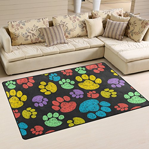 Yochoice Non-slip Area Rugs Home Decor, Vinatge Cute Colorful Dog Paws Floor Mat Living Room Bedroom Carpets Doormats 60 x 39 inches (Rug Paw Print)