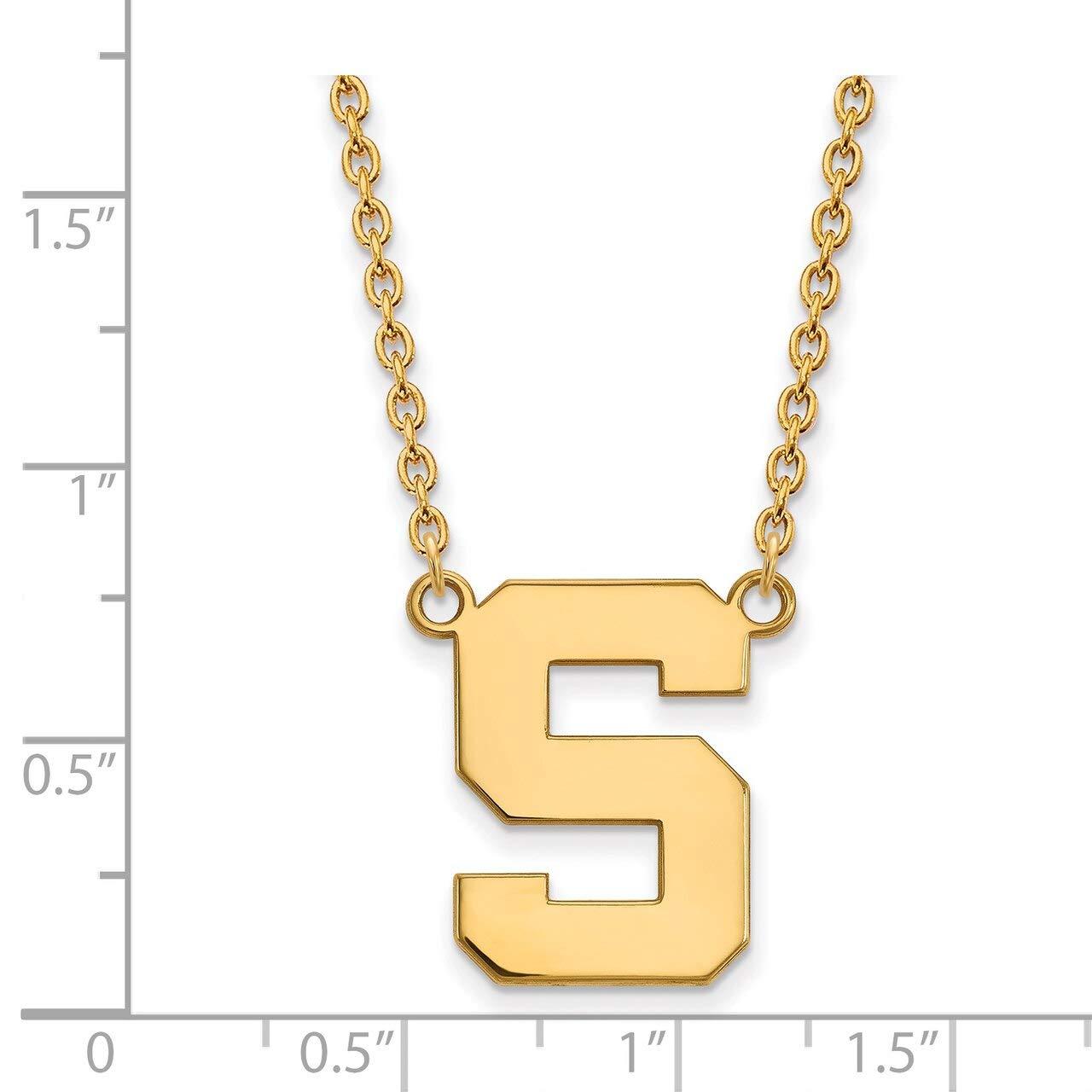 Lex /& Lu LogoArt Sterling Silver w//GP Michigan State University Large Pendant w//Necklace LAL139967